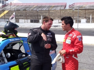 Blake Jones (left) works with Ricardo Flores on the best way to get around Hickory Motor Speedway.